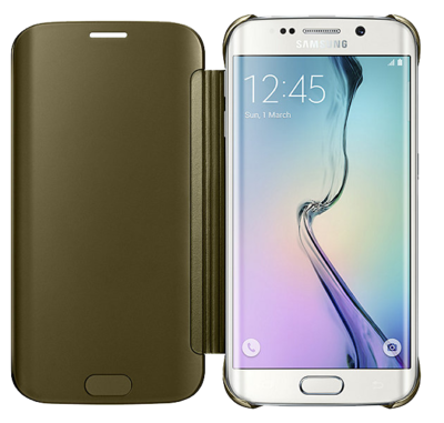 Чехол Samsung Clear View Cover EF-ZG925BFEGRU Gold для Galaxy S6 Edge 2