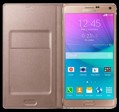 Чехол Samsung LED Flip Wallet EF-NN910BEEGRU Gold для Galaxy Note 4 2