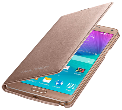 Чехол Samsung LED Flip Wallet EF-NN910BEEGRU Gold для Galaxy Note 4 3