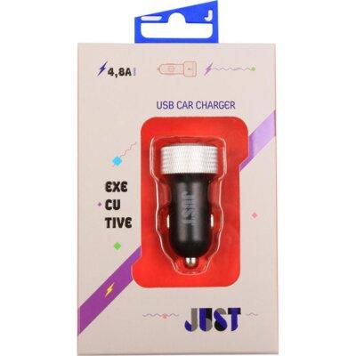 Зарядное устройство JUST Executive Dual USB Car Charger CCHRGR-XCTV-BLCK Black-Silver 1