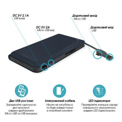 Мобильная батарея Global G.Power Bank DP923 12000mAh  Blue 3