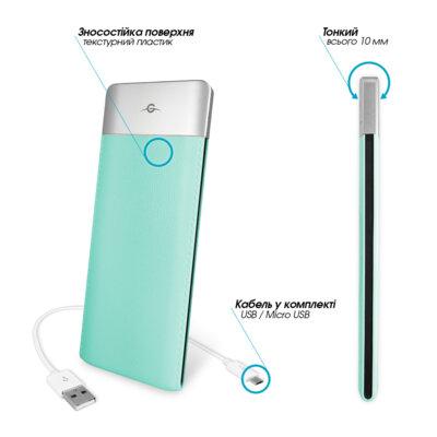 Мобільна батарея Global G.Power Bank DP662 6000mAh Turquoise 2