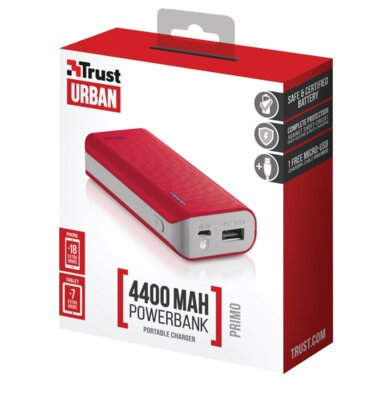 Мобильная батарея Trust Primo 4400 Red 5