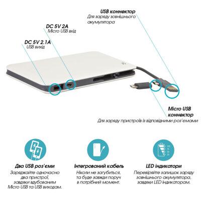 Мобільна батарея Global G. Power Bank DP622A White 3