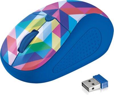Мышь Trust Primo Wireless Mouse Blue Geometry 3
