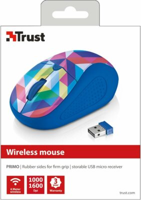 Мышь Trust Primo Wireless Mouse Blue Geometry 4