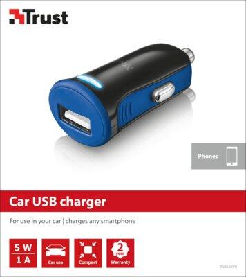 Зарядний пристрій Trust 5W Car Charger Blue 5