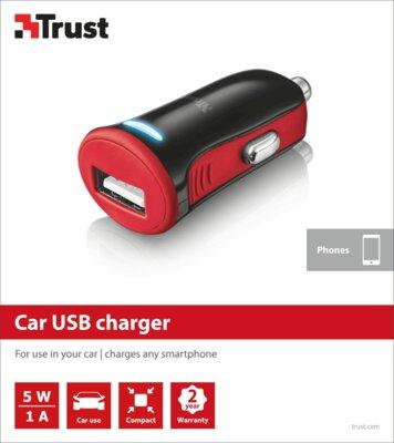 Зарядний пристрій Trust 5W Car Charger Red 5