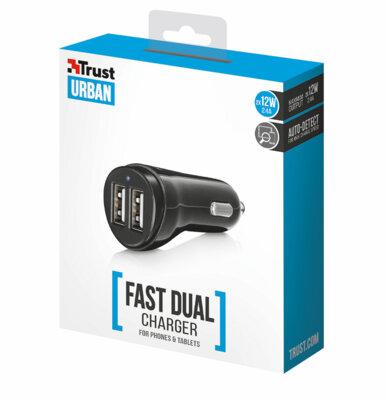 Зарядний пристрій Trust Urban 2x12W Fast Charger 2.4А Black 3