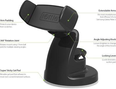 Автотримач iOttie Easy View 2 Universal Car Mount Holder Black 5