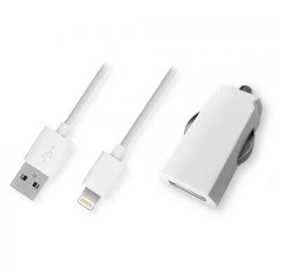 Зарядний пристрій автомобільний GLOBAL MSH-SC-031 (1USB2.1A) з кабелем для iPhone 5 White 1