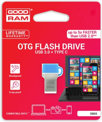 USB flash накопичувач GOODRAM ODD3 16GB USB 3.0 Type-C BLUE 5