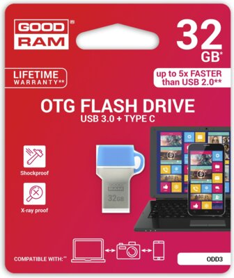 USB flash накопитель GOODRAM ODD3 32GB USB 3.0 Type-C BLUE 5