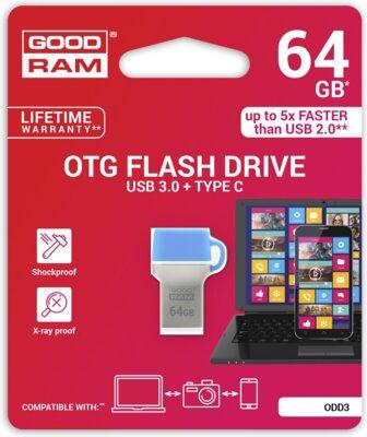 USB flash накопичувач GOODRAM ODD3 64GB USB 3.0 Type-C BLUE 5