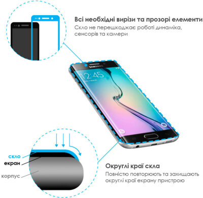 Захисне скло ADPO CurvedGlass для Samsung S8 G950 Blue 5