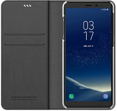 Чохол Araree Flip Wallet Leather Cover Charcoal Gray для Galaxy А8 (2018) A530 3
