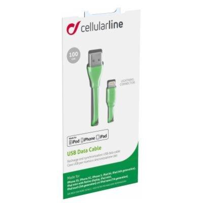 Дата кабель Cellularline Lightning 1m green (USBDATACFLMFIIPH5G) 1