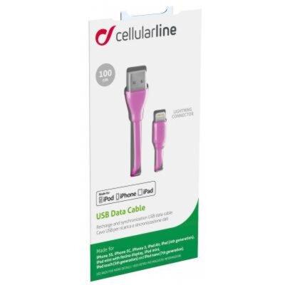 Дата кабель Cellularline Lightning 1m pink (USBDATACFLMFIIPH5P) 2