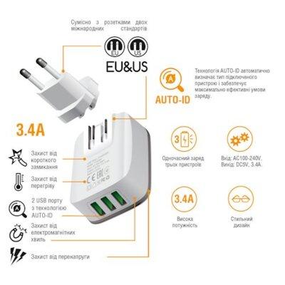 Зарядний пристрій Intaleo TCG343 (3USB3,4A) White 4