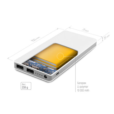 Мобильная батарея ColorWay 10 000 mAh White 4
