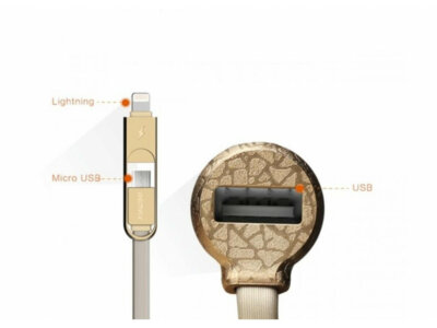 Автомобильное зарядное устройство Remax USB 3.4A with Cable 2у1 iPhone 6/microUSB Gold 3