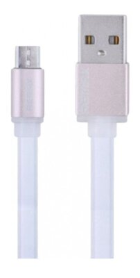 USB Кабель плоский Remax Quick Charge RE-005m microUSB Metal White 1m 1
