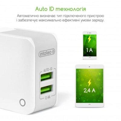 Зарядний пристрій Intaleo TCA242 (2USB2,4A) White 4