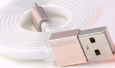 USB Кабель плоский Remax Quick Charge RE-005m microUSB Metal White 1m 2