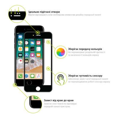 Захисне скло Global TG Full Cover для Apple iPhone 7/8 Plus black 2