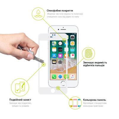 Защитное стекло Global TG Full Cover для Apple iPhone 7/8 Plus white 3