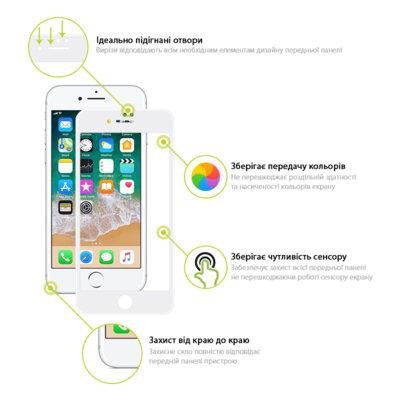 Захисне скло Global TG Full Cover для Apple iPhone 7/8 white 3