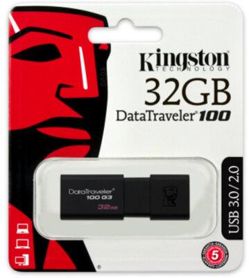 Накопичувач KINGSTON DT 100 G3 32Gb USB 3-0 Black 3