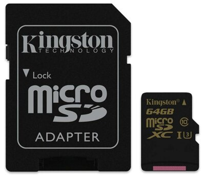 Карта пам'яті Kingston microSDXC 64GB Gold Class 10 UHS-I U3 1
