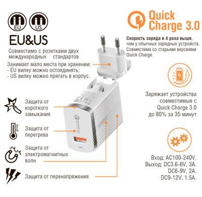 Зарядний пристрій Intaleo TCQ431 (1USB3A) White 2