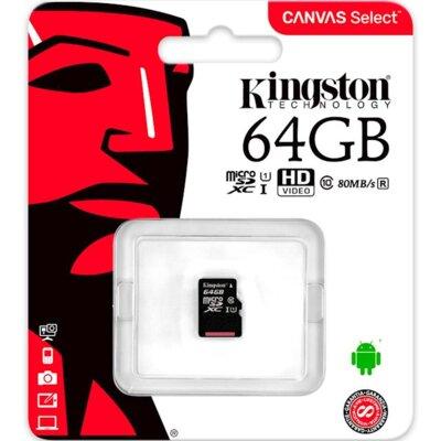Карта пам'ятi KINGSTON microSDXC 64Gb Canvas Select U1 (R80/W10) no ad 2