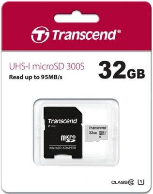 Карта памяти TRANSCEND microSDHC 300S 32GB UHS-I U1 + ad 3