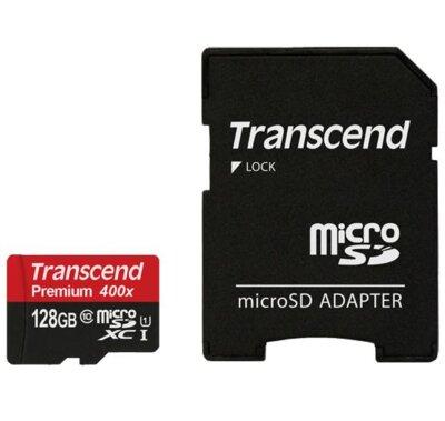 Карта пам'ятi TRANSCEND microSDXC 128GB Class 10 UHS-I Premium + ad 1