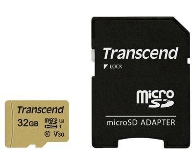 Карта пам'ятi TRANSCEND microSDHC 500S 32GB UHS-I U3 + ad 1