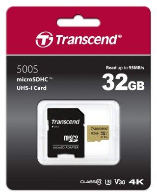 Карта пам'ятi TRANSCEND microSDHC 500S 32GB UHS-I U3 + ad 3