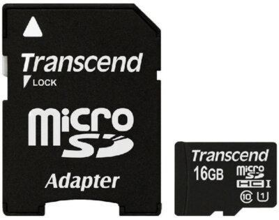 Карта памяти TRANSCEND microSDHC 16 GB Class 10 UHS I + SD AD 1