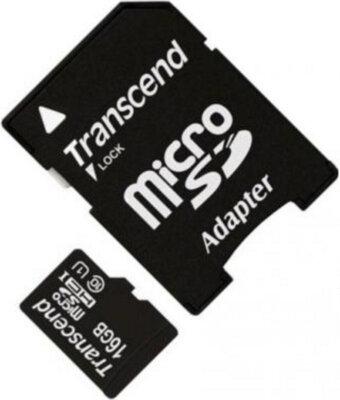 Карта памяти TRANSCEND microSDHC 16 GB Class 10 UHS I + SD AD 2