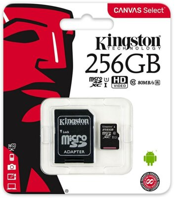 Карта пам'ятi KINGSTON microSDXC 256Gb Canvas Select U1 (R80/W10)+ad 3