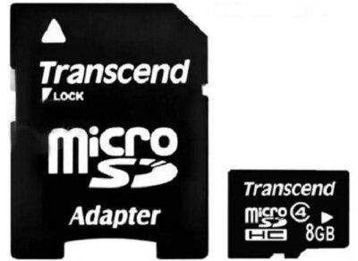 Карта памяти TRANSCEND microSDHC 8 GB Class 4 + SD ad 1