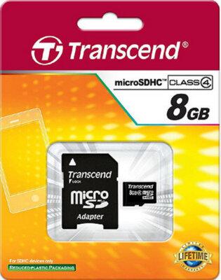 Карта памяти TRANSCEND microSDHC 8 GB Class 4 + SD ad 2