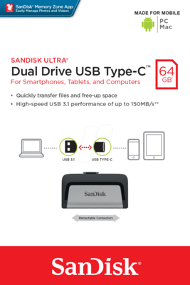 USB flash накопитель SanDisk Ultra Dual Type-C USB 3.1 64GB 5
