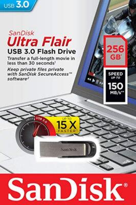 Накопичувач SANDISK Ultra Flair 256 Gb USB 3.0 Black 4