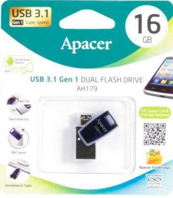 Накопичувач APACER AH179 16GB OTG Mobile USB 3.1 Blue 5