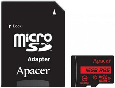Карта пам'яті Apacer microSD 16GB Class 10 UHS-I R85 + adapter 1