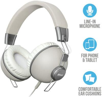 Наушники TRUST Noma Headphones Retro Ivory 2