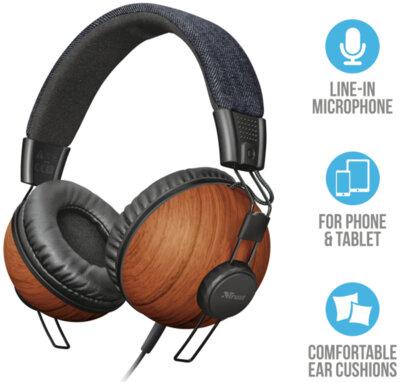 Навушники TRUST Noma Headphones Denim Wood 2